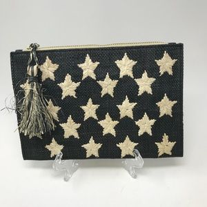 Kayu Star Embroidered Raffia Clutch Purse Bag